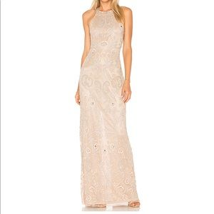 Parker Black Beaded Gown - Size 0 - Beige